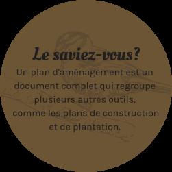Le saviez-vous? Un plan d'aménagement est un document complet qui regroupe plusieurs autres outils, comme les plans de construction et de plantation.